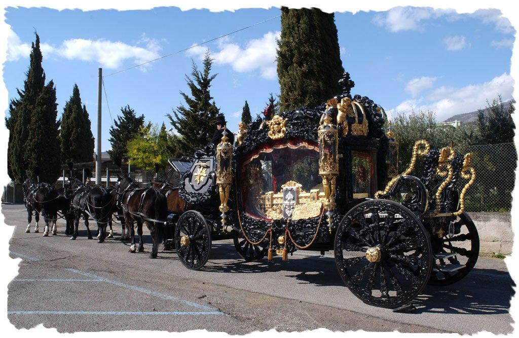 Carro Funebre con cocchiere, carrozza e cavalli
